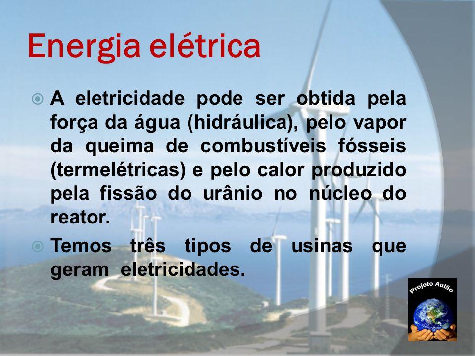 Energia elétrica  A eletricidade pode ser obtida pela força da água (hidráulica), pelo vapor da queima de combustíveis fósseis (termelétricas) e pelo