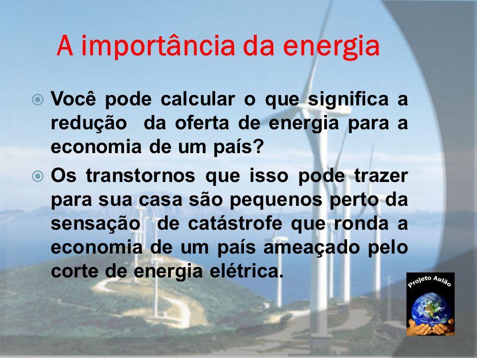 A importância da energia  Você pode calcular o que significa a redução da oferta de energia para a economia de um país?  Os transtornos que isso pod