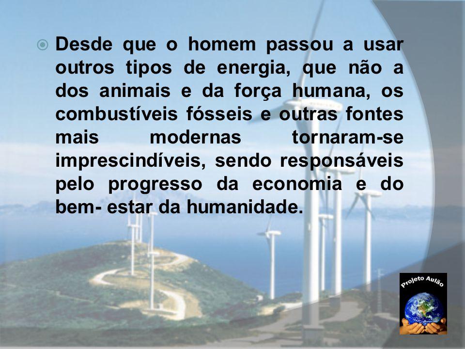  Desde que o homem passou a usar outros tipos de energia, que não a dos animais e da força humana, os combustíveis fósseis e outras fontes mais moder