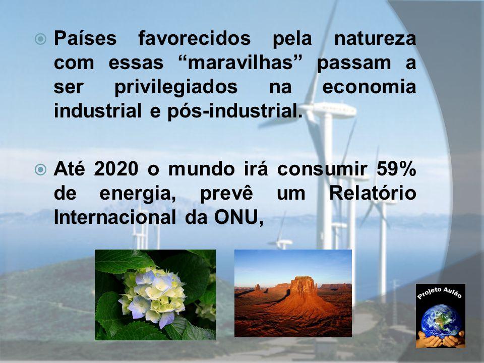 """ Países favorecidos pela natureza com essas """"maravilhas"""" passam a ser privilegiados na economia industrial e pós-industrial.  Até 2020 o mundo irá c"""