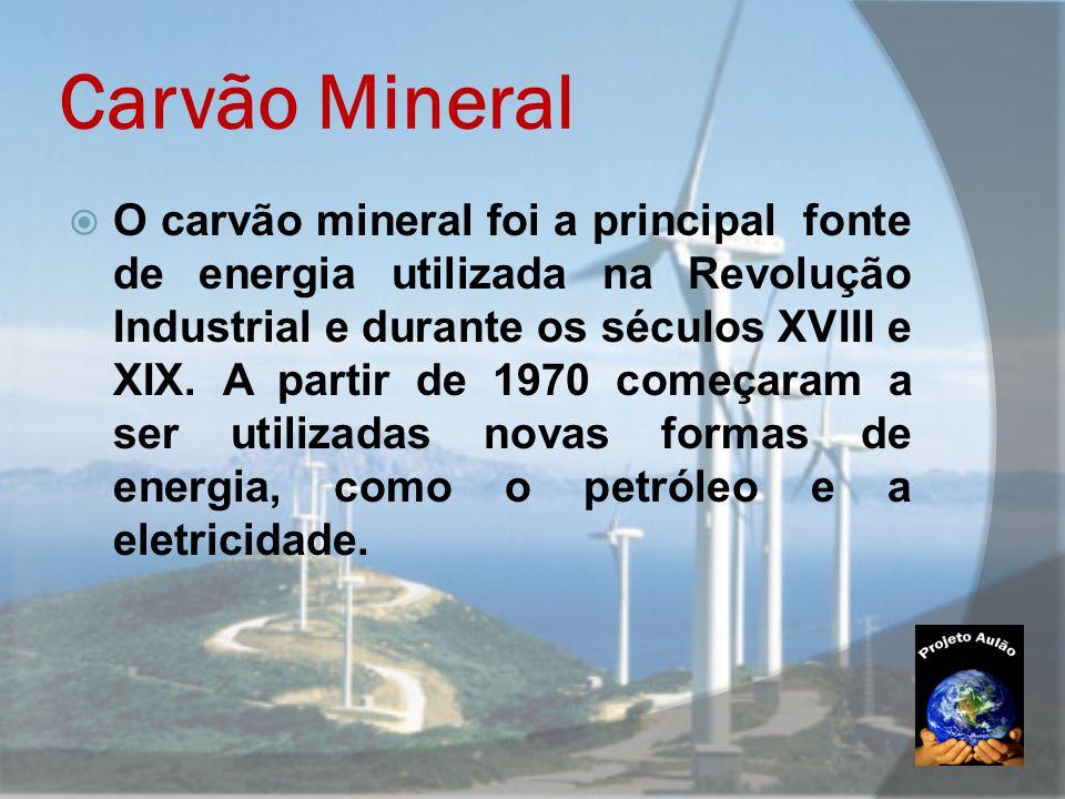 Carvão Mineral  O carvão mineral foi a principal fonte de energia utilizada na Revolução Industrial e durante os séculos XVIII e XIX. A partir de 197