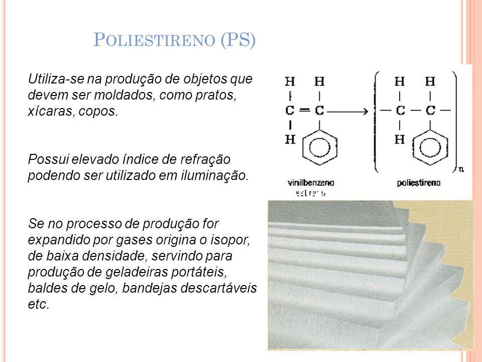 P OLIESTIRENO (PS) Utiliza-se na produção de objetos que devem ser moldados, como pratos, xícaras, copos. Possui elevado índice de refração podendo se
