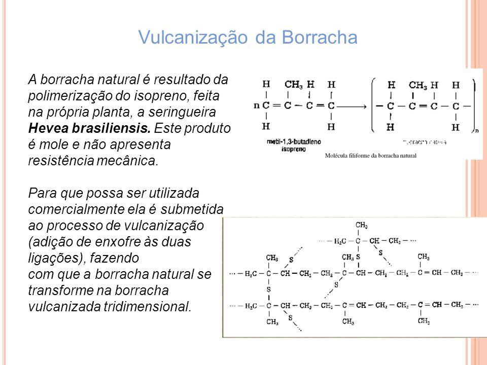Vulcanização da Borracha A borracha natural é resultado da polimerização do isopreno, feita na própria planta, a seringueira Hevea brasiliensis. Este
