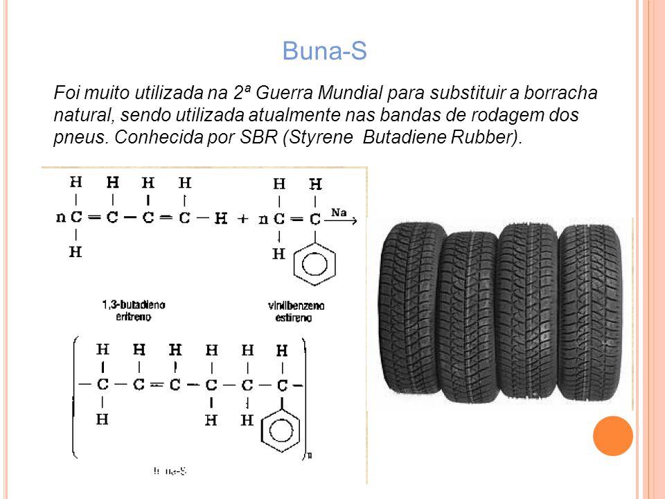 Buna-S Foi muito utilizada na 2ª Guerra Mundial para substituir a borracha natural, sendo utilizada atualmente nas bandas de rodagem dos pneus. Conhec