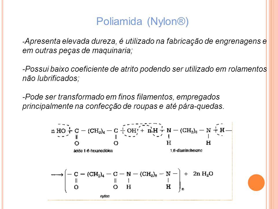 Poliamida (Nylon®) - Apresenta elevada dureza, é utilizado na fabricação de engrenagens e em outras peças de maquinaria; -Possui baixo coeficiente de