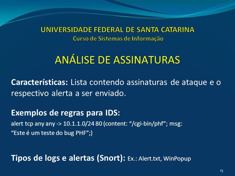 Características: Lista contendo assinaturas de ataque e o respectivo alerta a ser enviado. Exemplos de regras para IDS: alert tcp any any -> 10.1.1.0/