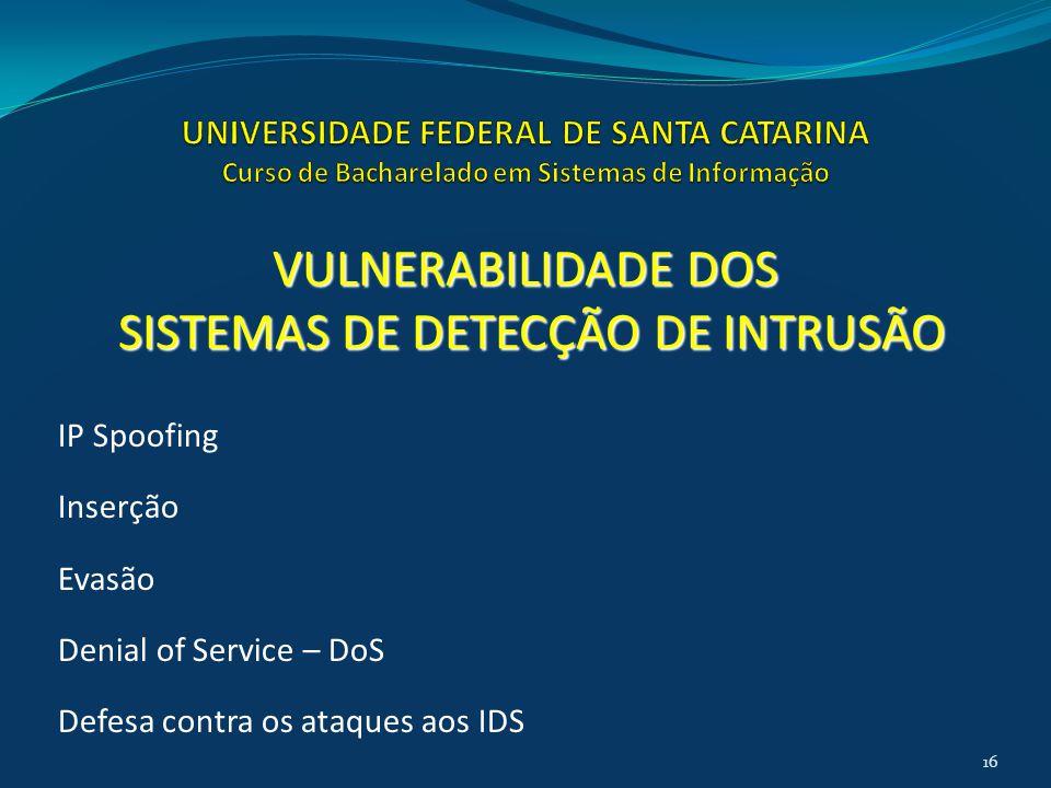 IP Spoofing Inserção Evasão Denial of Service – DoS Defesa contra os ataques aos IDS VULNERABILIDADE DOS SISTEMAS DE DETECÇÃO DE INTRUSÃO SISTEMAS DE