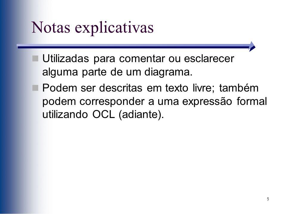 5 Notas explicativas Utilizadas para comentar ou esclarecer alguma parte de um diagrama.