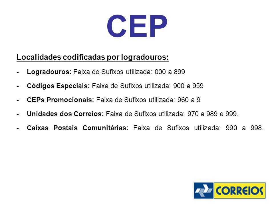 CEP Localidades codificadas por logradouros: -Logradouros: Faixa de Sufixos utilizada: 000 a 899 -Códigos Especiais: Faixa de Sufixos utilizada: 900 a