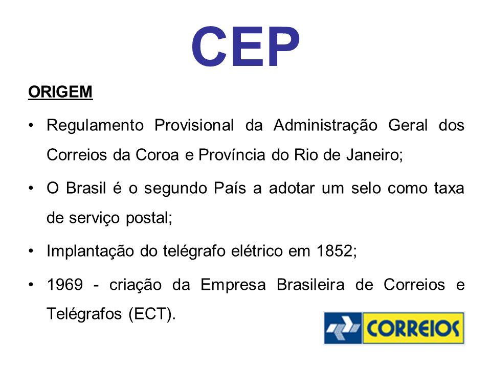 CEP ORIGEM Regulamento Provisional da Administração Geral dos Correios da Coroa e Província do Rio de Janeiro; O Brasil é o segundo País a adotar um s