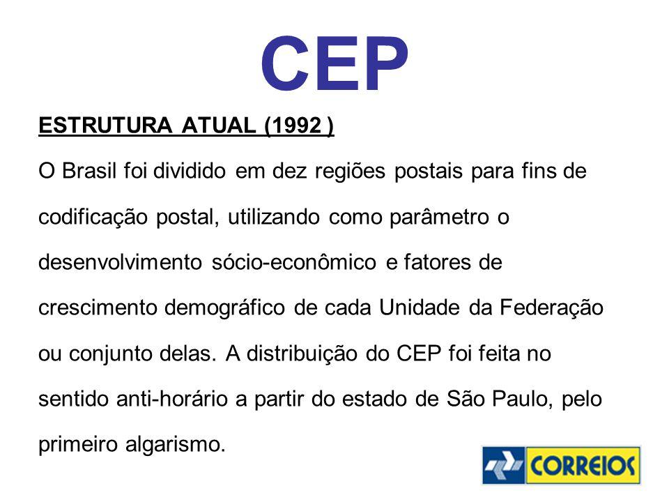 CEP ESTRUTURA ATUAL (1992 ) O Brasil foi dividido em dez regiões postais para fins de codificação postal, utilizando como parâmetro o desenvolvimento