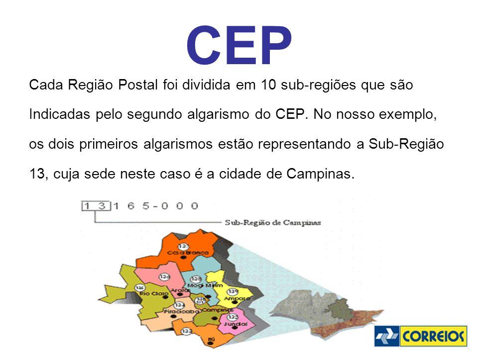 CEP Cada Região Postal foi dividida em 10 sub-regiões que são Indicadas pelo segundo algarismo do CEP. No nosso exemplo, os dois primeiros algarismos