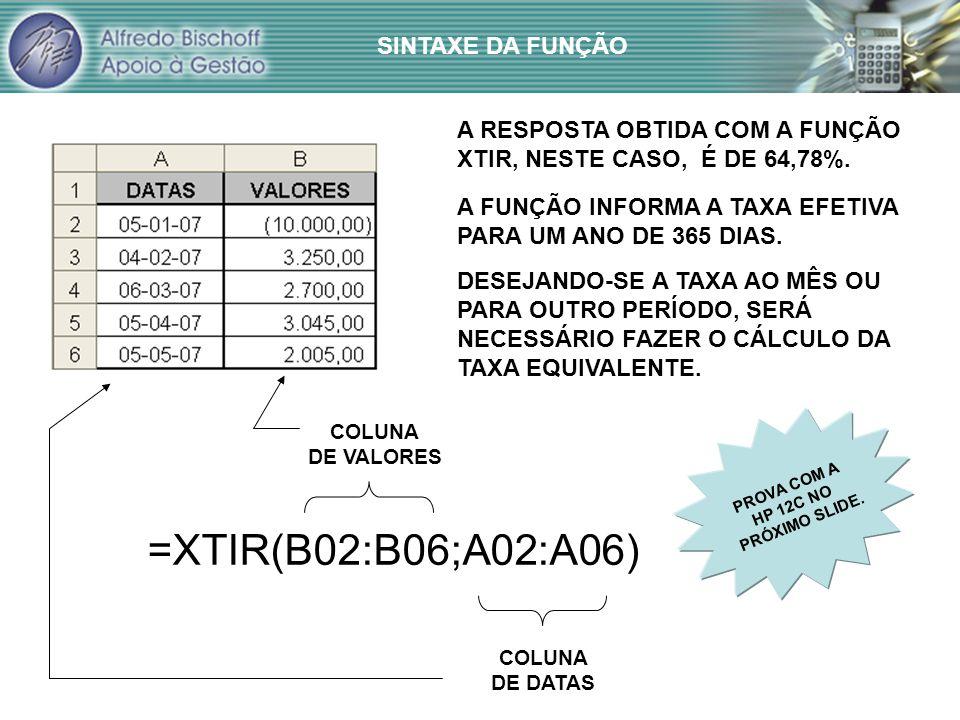 =XTIR(B02:B06;A02:A06) COLUNA DE VALORES COLUNA DE DATAS A RESPOSTA OBTIDA COM A FUNÇÃO XTIR, NESTE CASO, É DE 64,78%.