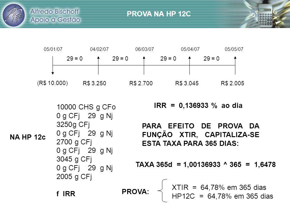 05/01/0704/02/0706/03/0705/04/0705/05/07 (R$ 10.000) R$ 3.250R$ 2.700R$ 3.045R$ 2.005 29 = 0 10000 CHS g CFo 0 g CFj 29 g Nj 3250g CFj 0 g CFj 29 g Nj 2700 g CFj 0 g CFj 29 g Nj 3045 g CFj 0 g CFj 29 g Nj 2005 g CFj f IRR NA HP 12c IRR = 0,136933 % ao dia PARA EFEITO DE PROVA DA FUNÇÃO XTIR, CAPITALIZA-SE ESTA TAXA PARA 365 DIAS: TAXA 365d = 1,00136933 ^ 365 = 1,6478 XTIR = 64,78% em 365 dias HP12C = 64,78% em 365 dias PROVA: PROVA NA HP 12C