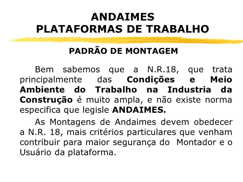 ANDAIMES PLATAFORMAS DE TRABALHO zNzNR-18.15.1 O Dimensionamento dos andaimes, sua estrutura de sustentação e fixação devem ser realizados por profissional habilitado.