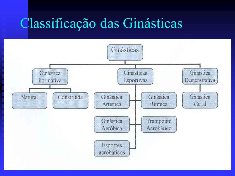 Definições Confederação Brasileira de Ginástica: compreende um vasto leque de atividades físicas, nas quais acontecem manifestações gímnicas e/ou culturais.