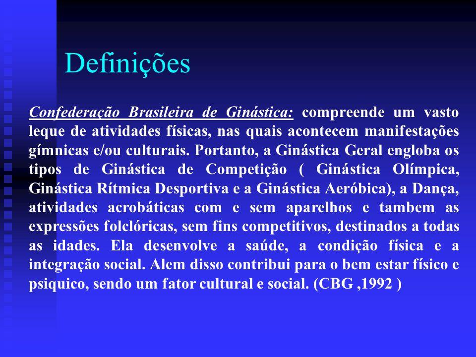 Definições Confederação Brasileira de Ginástica: compreende um vasto leque de atividades físicas, nas quais acontecem manifestações gímnicas e/ou cult