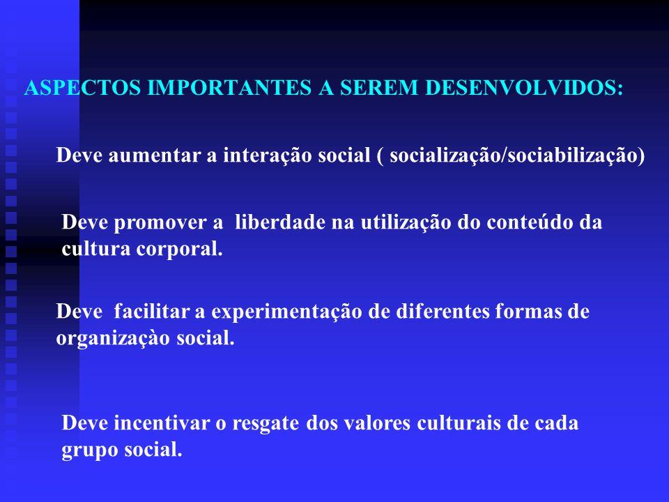 ASPECTOS IMPORTANTES A SEREM DESENVOLVIDOS: Deve aumentar a interação social ( socialização/sociabilização) Deve promover a liberdade na utilização do