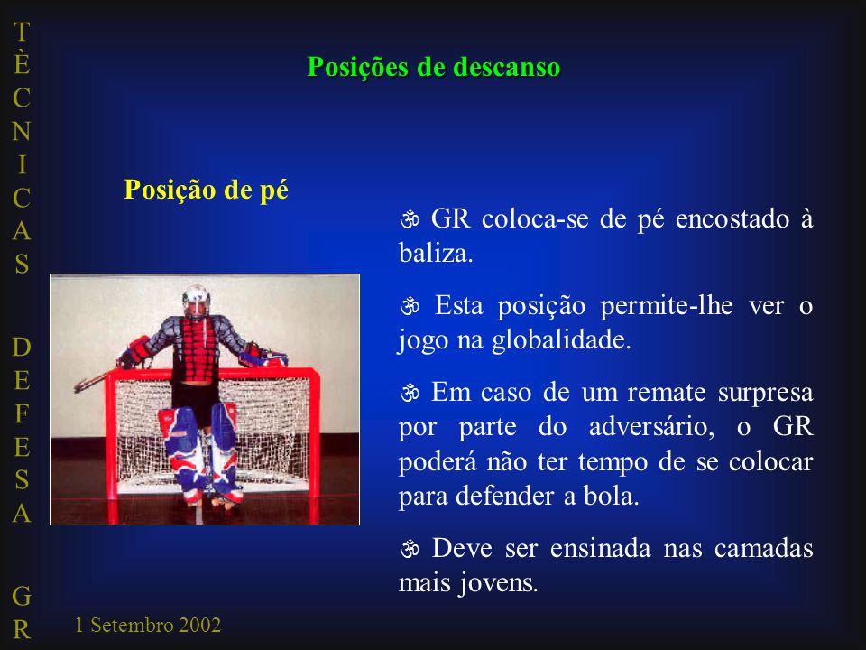 TÈCNICAS DEFESA GRTÈCNICAS DEFESA GR 1 Setembro 2002  GR coloca-se de pé encostado à baliza.  Esta posição permite-lhe ver o jogo na globalidade. 