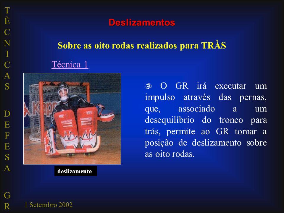 TÈCNICAS DEFESA GRTÈCNICAS DEFESA GR 1 Setembro 2002 impulsãodeslizamento Técnica 1  O GR irá executar um impulso através das pernas, que, associado a um desequilíbrio do tronco para trás, permite ao GR tomar a posição de deslizamento sobre as oito rodas.
