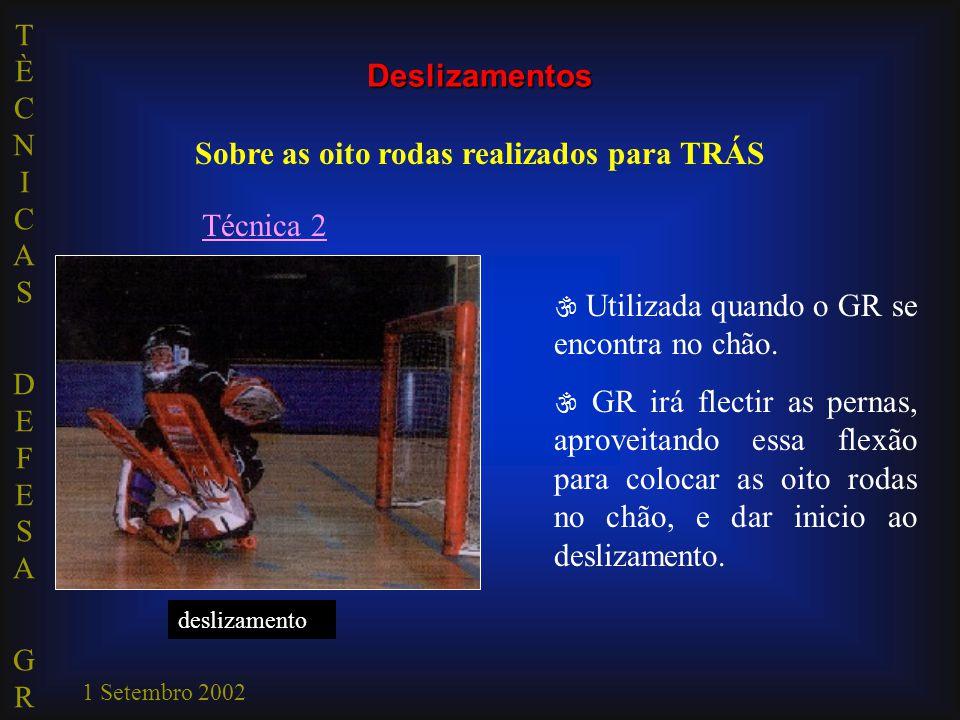 TÈCNICAS DEFESA GRTÈCNICAS DEFESA GR 1 Setembro 2002 impulsão estabilização deslizamento Técnica 2  Utilizada quando o GR se encontra no chão.