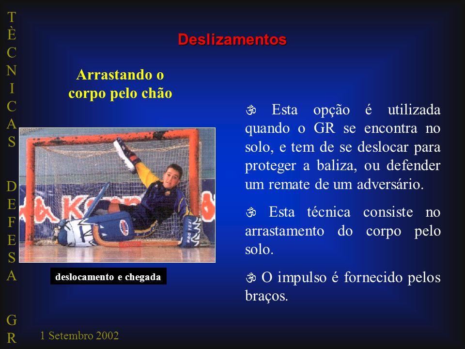 TÈCNICAS DEFESA GRTÈCNICAS DEFESA GR 1 Setembro 2002 impulsão deslocamento e chegada  Esta opção é utilizada quando o GR se encontra no solo, e tem d