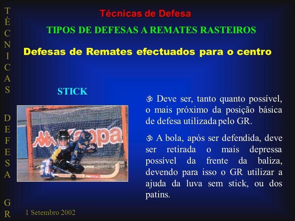 TÈCNICAS DEFESA GRTÈCNICAS DEFESA GR 1 Setembro 2002  Deve ser, tanto quanto possível, o mais próximo da posição básica de defesa utilizada pelo GR.