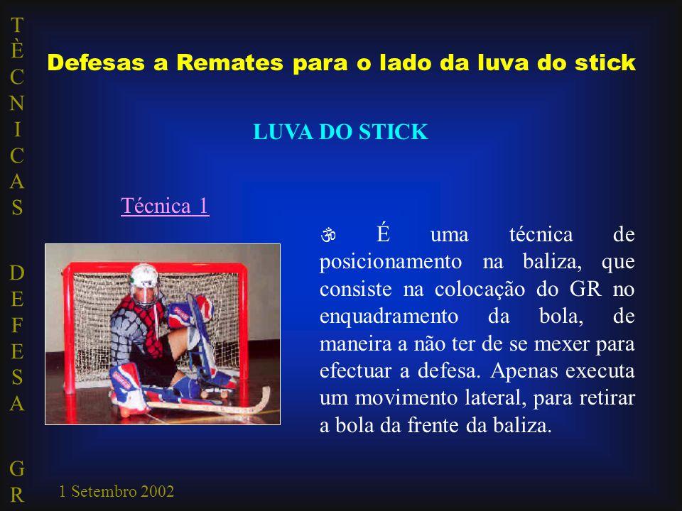 TÈCNICAS DEFESA GRTÈCNICAS DEFESA GR 1 Setembro 2002 Defesas a Remates para o lado da luva do stick LUVA DO STICK Técnica 1  É uma técnica de posicio