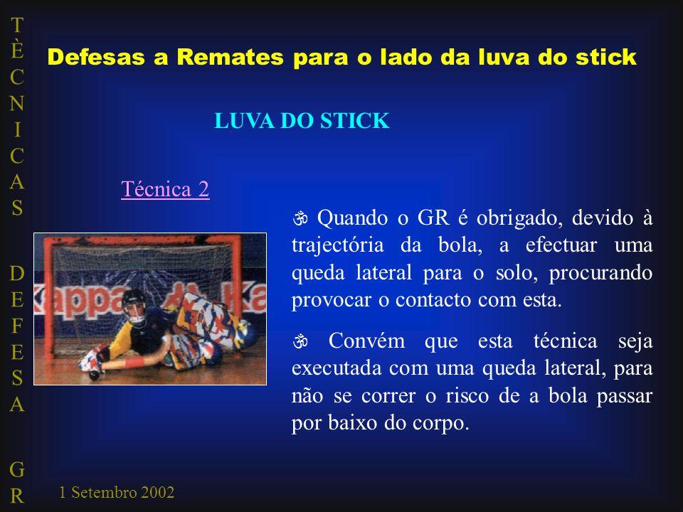 TÈCNICAS DEFESA GRTÈCNICAS DEFESA GR 1 Setembro 2002 LUVA DO STICK Técnica 2  Quando o GR é obrigado, devido à trajectória da bola, a efectuar uma qu