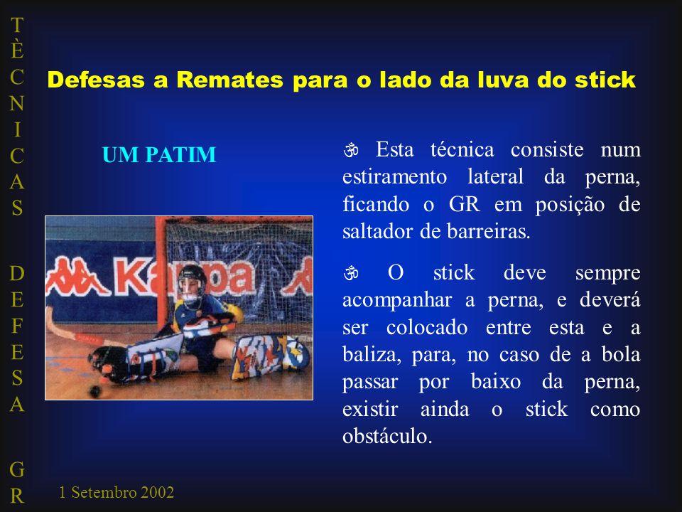 TÈCNICAS DEFESA GRTÈCNICAS DEFESA GR 1 Setembro 2002 Defesas a Remates para o lado da luva do stick UM PATIM  Esta técnica consiste num estiramento l