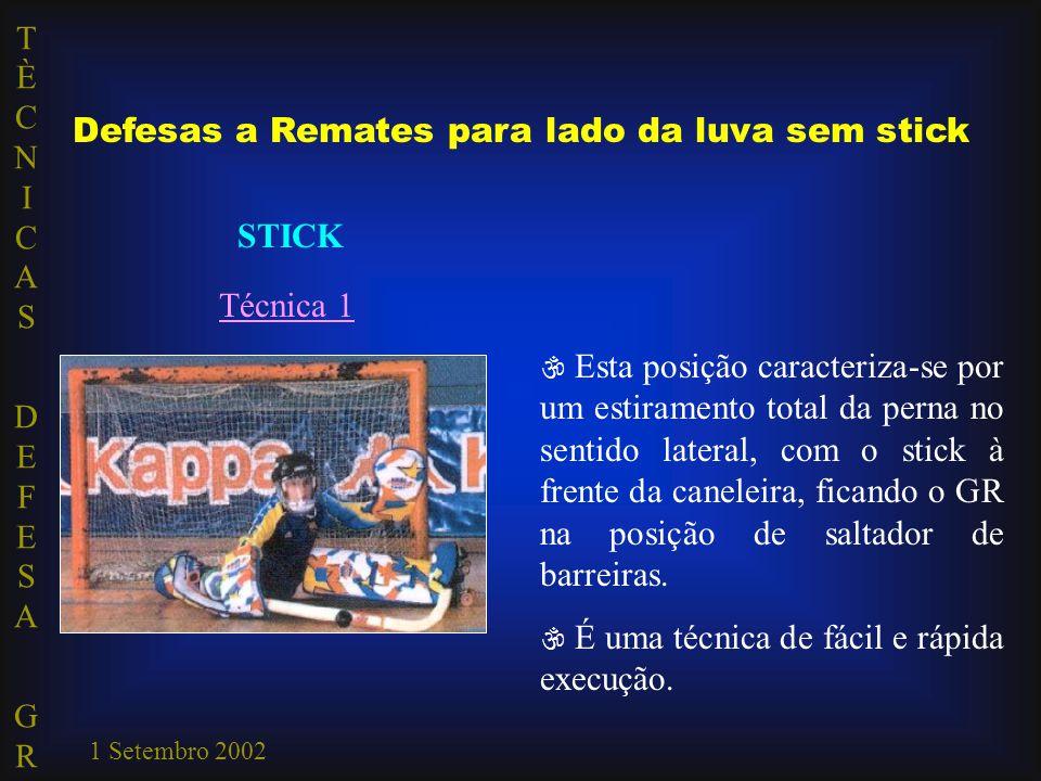 TÈCNICAS DEFESA GRTÈCNICAS DEFESA GR 1 Setembro 2002 Defesas a Remates para lado da luva sem stick STICK Técnica 1  Esta posição caracteriza-se por u