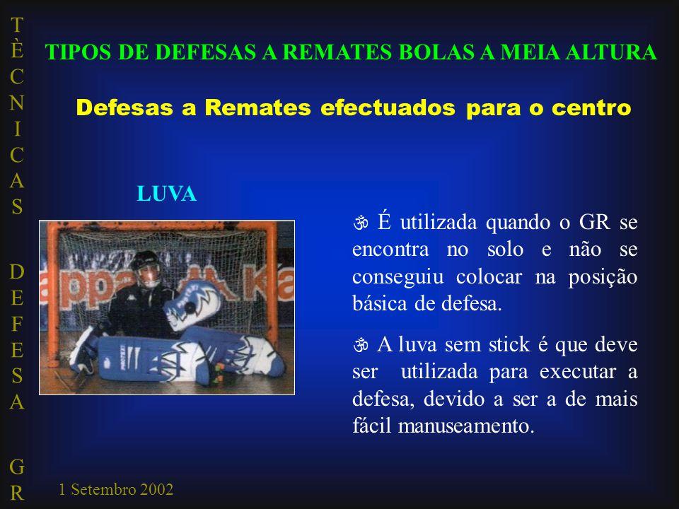 TÈCNICAS DEFESA GRTÈCNICAS DEFESA GR 1 Setembro 2002 TIPOS DE DEFESAS A REMATES BOLAS A MEIA ALTURA Defesas a Remates efectuados para o centro LUVA 