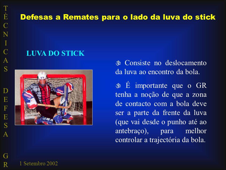TÈCNICAS DEFESA GRTÈCNICAS DEFESA GR 1 Setembro 2002 Defesas a Remates para o lado da luva do stick LUVA DO STICK  Consiste no deslocamento da luva a