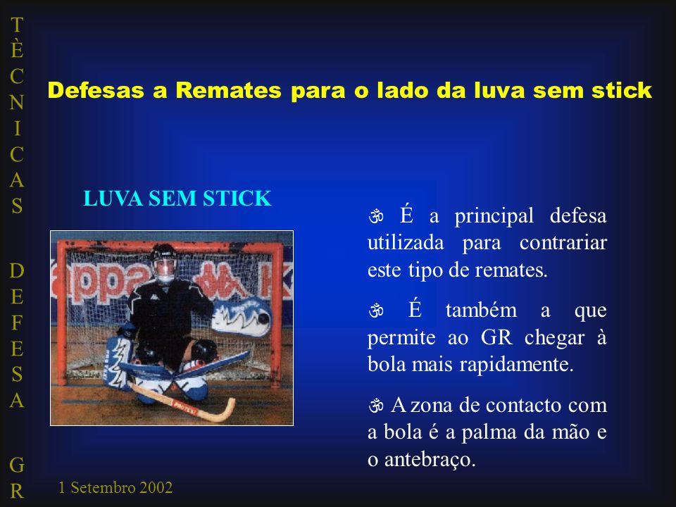 TÈCNICAS DEFESA GRTÈCNICAS DEFESA GR 1 Setembro 2002 Defesas a Remates para o lado da luva sem stick LUVA SEM STICK  É a principal defesa utilizada p