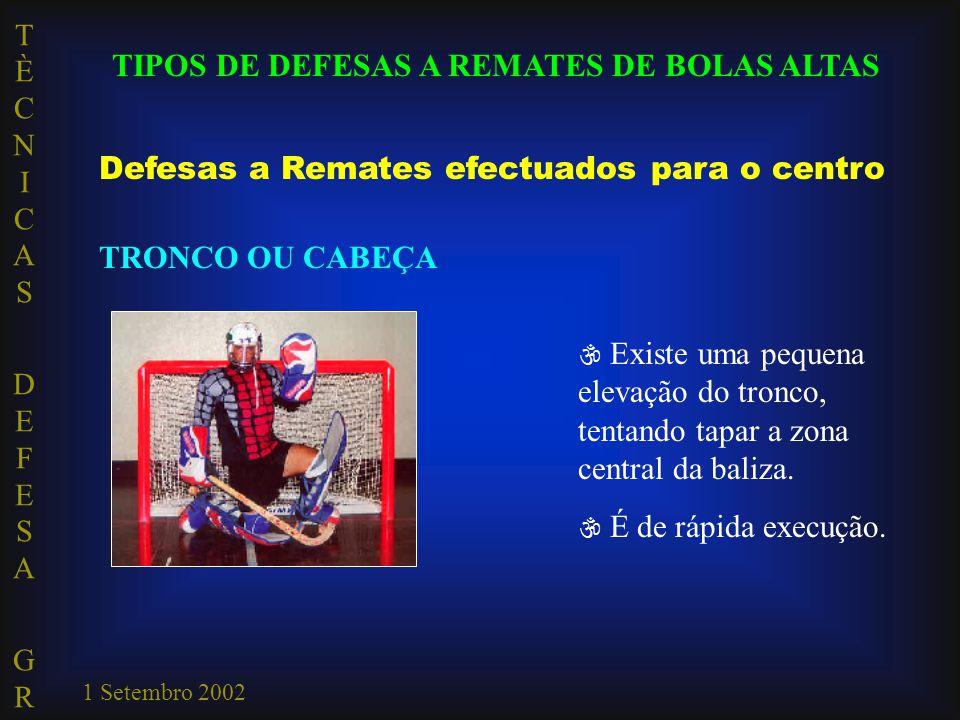 TÈCNICAS DEFESA GRTÈCNICAS DEFESA GR 1 Setembro 2002 TIPOS DE DEFESAS A REMATES DE BOLAS ALTAS Defesas a Remates efectuados para o centro TRONCO OU CA