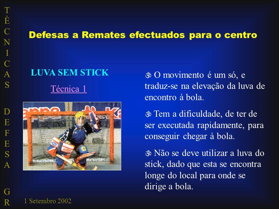 TÈCNICAS DEFESA GRTÈCNICAS DEFESA GR 1 Setembro 2002 Defesas a Remates efectuados para o centro LUVA SEM STICK Técnica 1  O movimento é um só, e traduz-se na elevação da luva de encontro à bola.