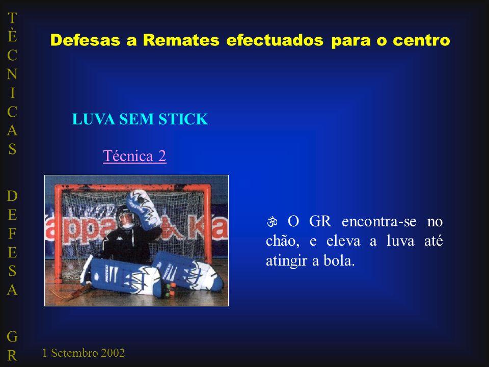 TÈCNICAS DEFESA GRTÈCNICAS DEFESA GR 1 Setembro 2002 Defesas a Remates efectuados para o centro LUVA SEM STICK Técnica 2  O GR encontra-se no chão, e