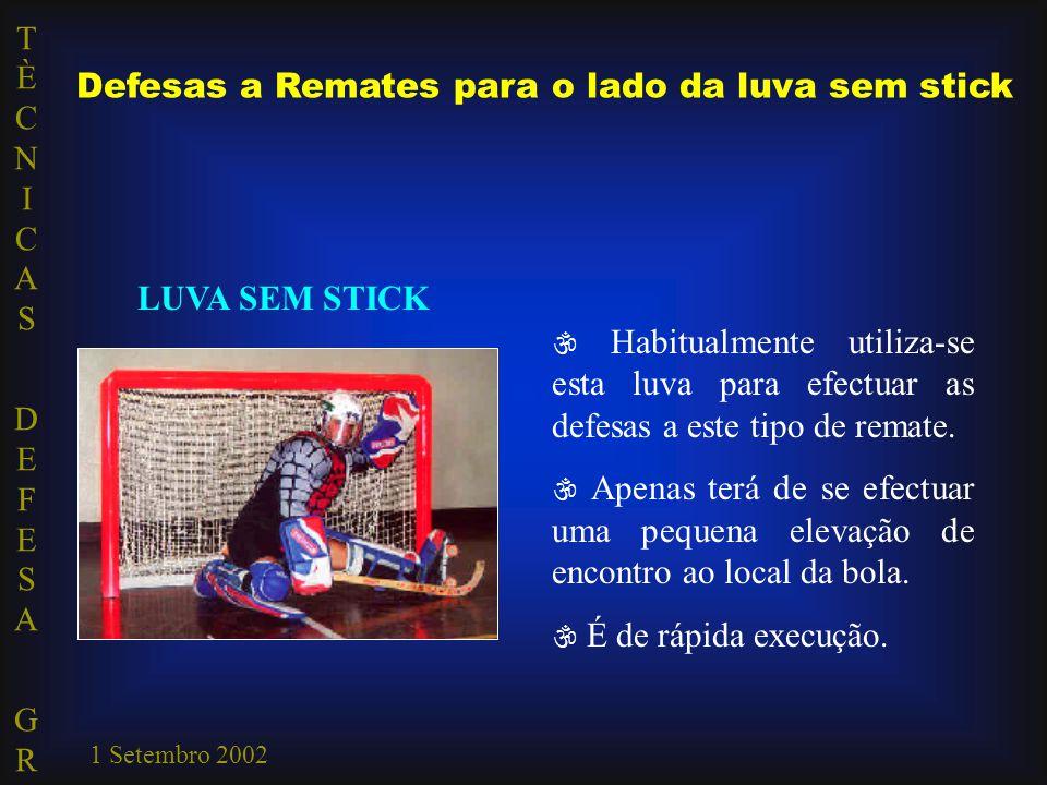 TÈCNICAS DEFESA GRTÈCNICAS DEFESA GR 1 Setembro 2002 Defesas a Remates para o lado da luva sem stick LUVA SEM STICK  Habitualmente utiliza-se esta lu