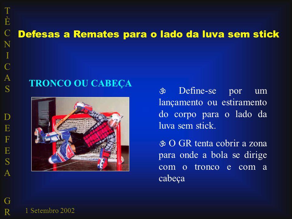 TÈCNICAS DEFESA GRTÈCNICAS DEFESA GR 1 Setembro 2002 Defesas a Remates para o lado da luva sem stick TRONCO OU CABEÇA  Define-se por um lançamento ou