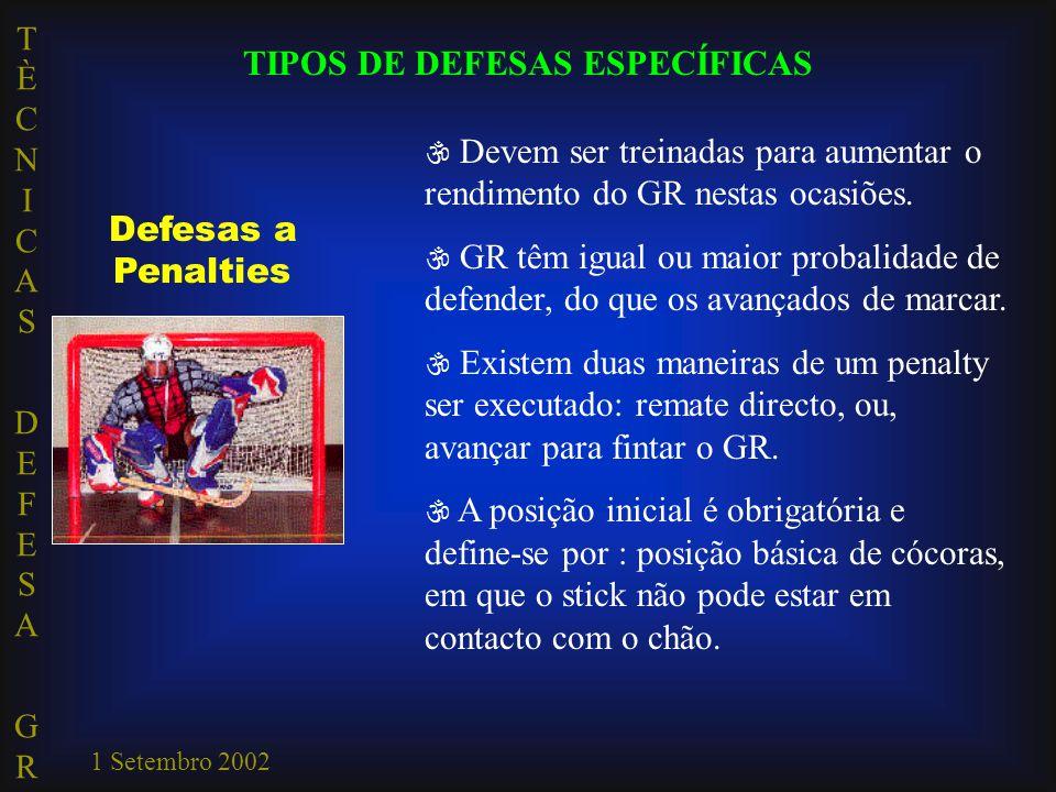 TÈCNICAS DEFESA GRTÈCNICAS DEFESA GR 1 Setembro 2002 TIPOS DE DEFESAS ESPECÍFICAS Defesas a Penalties  Devem ser treinadas para aumentar o rendimento