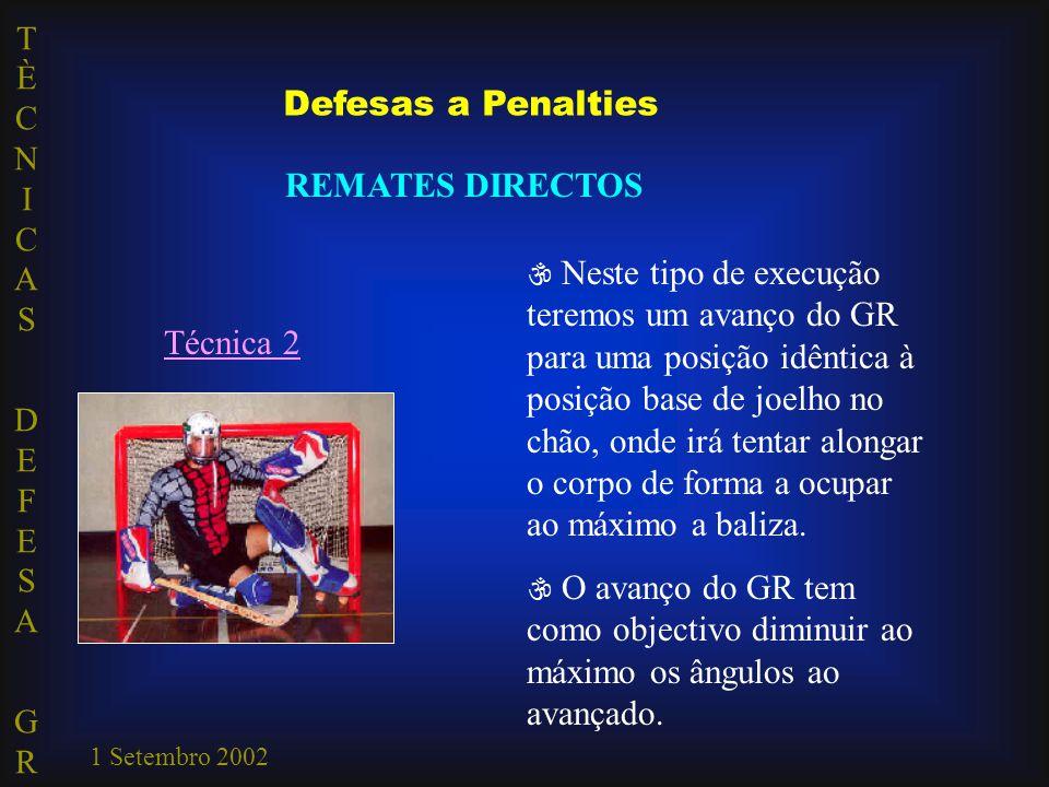TÈCNICAS DEFESA GRTÈCNICAS DEFESA GR 1 Setembro 2002 Técnica 2  Neste tipo de execução teremos um avanço do GR para uma posição idêntica à posição ba