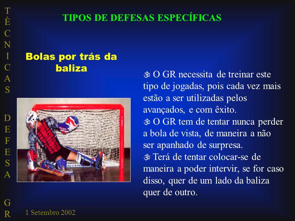 TÈCNICAS DEFESA GRTÈCNICAS DEFESA GR 1 Setembro 2002 Bolas por trás da baliza  O GR necessita de treinar este tipo de jogadas, pois cada vez mais estão a ser utilizadas pelos avançados, e com êxito.