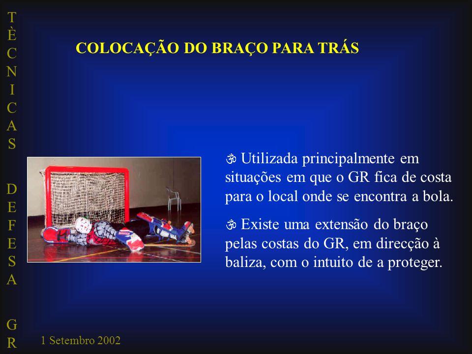 TÈCNICAS DEFESA GRTÈCNICAS DEFESA GR 1 Setembro 2002 COLOCAÇÃO DO BRAÇO PARA TRÁS  Utilizada principalmente em situações em que o GR fica de costa pa