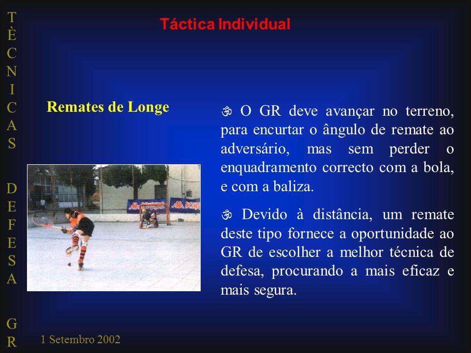 TÈCNICAS DEFESA GRTÈCNICAS DEFESA GR 1 Setembro 2002 Táctica Individual Remates de Longe  O GR deve avançar no terreno, para encurtar o ângulo de remate ao adversário, mas sem perder o enquadramento correcto com a bola, e com a baliza.