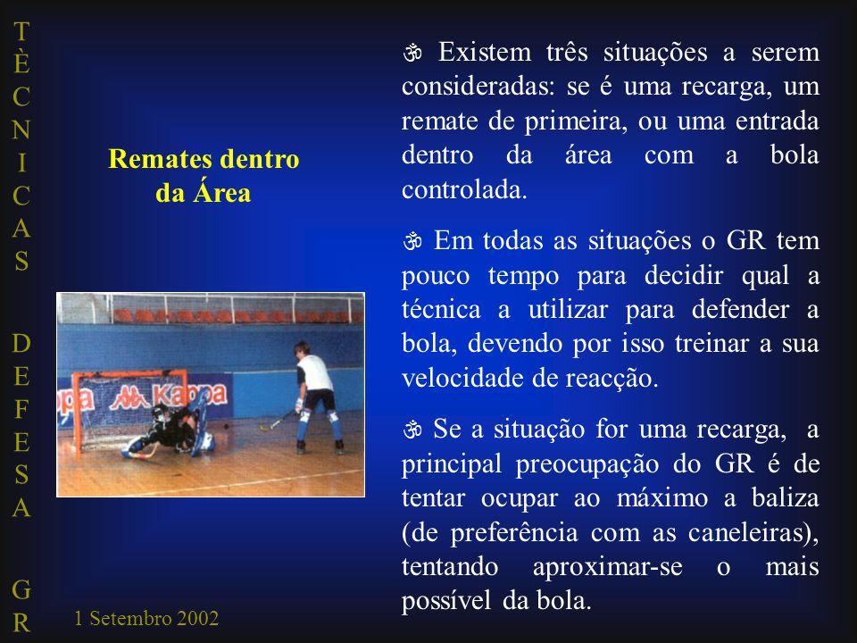 TÈCNICAS DEFESA GRTÈCNICAS DEFESA GR 1 Setembro 2002 Remates dentro da Área  Existem três situações a serem consideradas: se é uma recarga, um remate