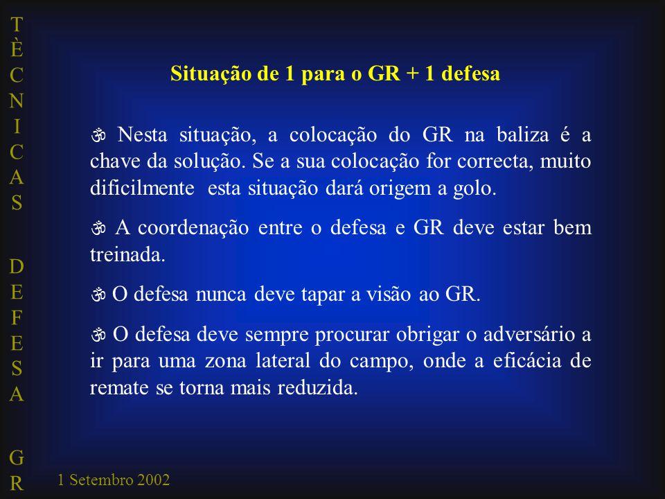 TÈCNICAS DEFESA GRTÈCNICAS DEFESA GR 1 Setembro 2002 Situação de 1 para o GR + 1 defesa  Nesta situação, a colocação do GR na baliza é a chave da solução.