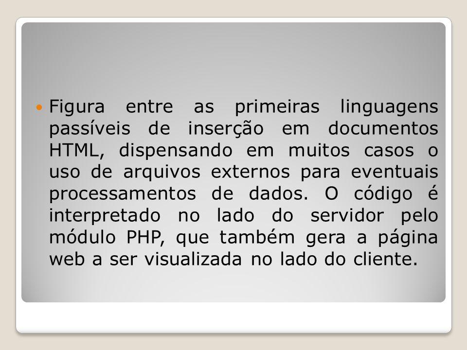 Figura entre as primeiras linguagens passíveis de inserção em documentos HTML, dispensando em muitos casos o uso de arquivos externos para eventuais p