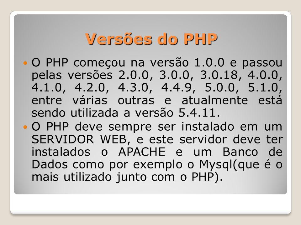 Versões do PHP O PHP começou na versão 1.0.0 e passou pelas versões 2.0.0, 3.0.0, 3.0.18, 4.0.0, 4.1.0, 4.2.0, 4.3.0, 4.4.9, 5.0.0, 5.1.0, entre vária