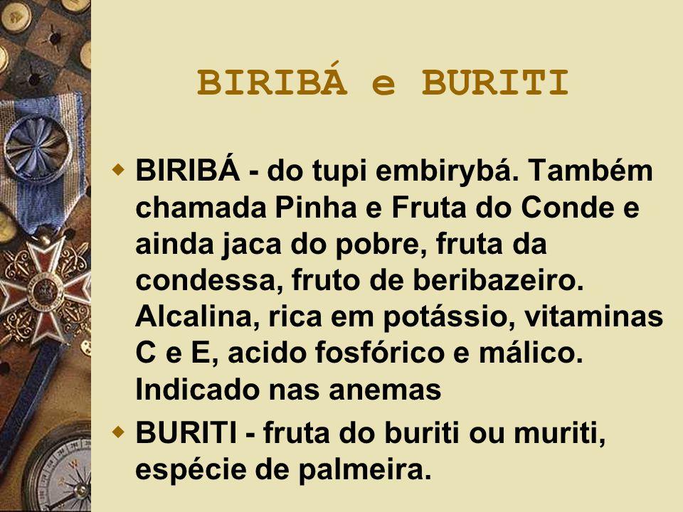 BIRIBÁ e BURITI  BIRIBÁ - do tupi embirybá. Também chamada Pinha e Fruta do Conde e ainda jaca do pobre, fruta da condessa, fruto de beribazeiro. Alc