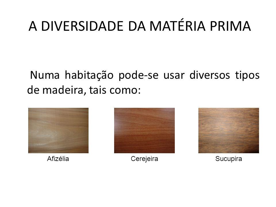 A DIVERSIDADE DA MATÉRIA PRIMA Numa habitação pode-se usar diversos tipos de madeira, tais como: AfizéliaCerejeiraSucupira